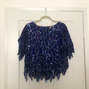 Vintage 1980s SCALA Blue Beaded Top